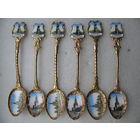 Набор чайных ложек (6 штук) керамика, позолота *