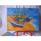 """Очень позитивная Интерьерная Картина: """"Broederschap"""" (Братство).  По мотивам произведения Винсента Ван Гога - """"Рыбацкие лодки на пляже в Сент-Мари""""."""