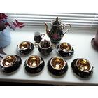 Шикарный коллекционный немецкий кофейный фарфоровый сервиз Bavaria S.W на шесть персон, кобальт, золото, новый, люкс!!!