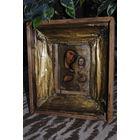 """Старинная ИКОНА """"Богородица с Младенцем"""" 19 век. Дерево/масло и уцелевшие остатки фольги, да киота!"""