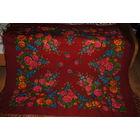 Большой Винтажный Павлопосадский/Павловопосадский Платок очень редкий по расцвету - красный в яркий цвет