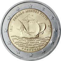 2 евро 2011 Португалия 500 лет со дня рождения Фернана Мендиша Пинту UNC из ролла