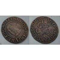 Шотландский торнер (двойной пенни) 1632-1633 г. первая медная монета на Беларуси-6