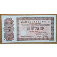 5 марок 1958 года - ФРГ (товарный ваучер) - UNС - редкая!