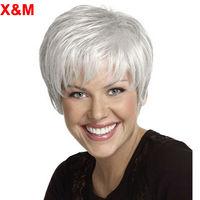 Короткий серебристо-белый парик для женщин с челкой