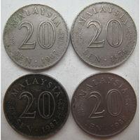 Малайзия 20 сен 1967, 1976, 1982, 1988 гг. Цена за 1 шт. (g)