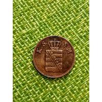 Саксония 1 пфенниг 1846 г ( F ) тир 450 тыс