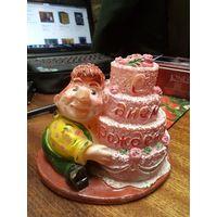 Сувенир-свеча С днем Рождения! 15*15*10 см.