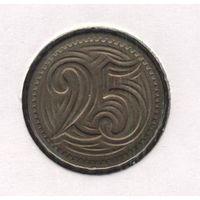 Чехословакия 25 геллеров 1933 г.