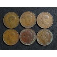 Великобритания 1/2 пенни, 1937-1948 и 1952 6шт