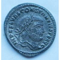 Римская империя, Констанций I, АЕ крупный 27мм фоллис, серебрение!!!