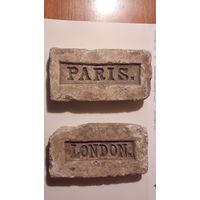 Кирпичи старинные огнеупорные LONDOH,PARIS. 2 шт.