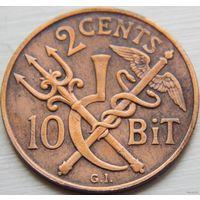 55. Западная Дацкая Индия 10 бит, 2 цента 1905 год*