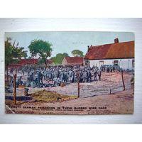 """Открытка 1-ой мировой войны (Англия) - """"Голодные пленные немцы за колючей проволокой"""""""