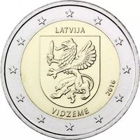 2 евро 2016 Латвия Историческая область Видземе UNC из ролла