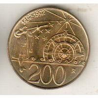 Сан-Марино 200 лира 1992 500 лет открытию Америки