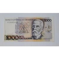 "Бразилия. 1000 крузадо1989 г. с надпечаткой ""1 cruzado novo"". UNC. Жоаким Мария Машаду де Ассис."