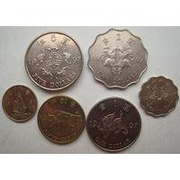 Гонконг 1, 2 , 5 долларов 10, 20, 50 центов 1997 г. Возврат Гонконга под юрисдикцию Китая. Комплект (g)