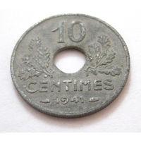 Франция 10 сантимов 1941 большой диаметр, тонкая KM#898.2