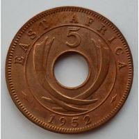 """Британская Восточная Африка 5 центов 1952 """"Изогнутые бивни"""""""