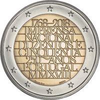 2 евро Португалия 2018 250 лет официальной типографии UNC из ролла