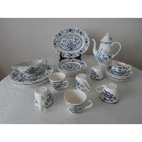 Сервиз столовый + чайный фарфор Royal Tudor Blue Onion луковая роспись 6 персон 26 предметов Англия by Grindley of stoke.