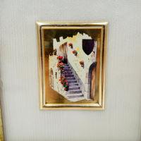 Винтажная миниатюра 3 Италия ORO FOGLIA - хромолитография, стекло, золото, 12 х 11 см