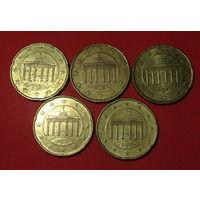 Евроценты, 5шт по 20ц, Германия, все разные буквы