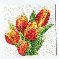 Салфетка для декупажа. Летняя, тюльпаны, цветы. 24 х 24 см