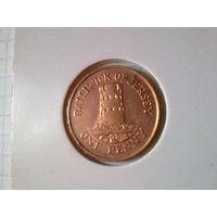 Джерси 1 пенни 1998 в холдере