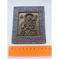 Старинная бронзовая икона меднолитая икона Тихвинская Божия Матерь  XIX   аукцион всего 7 дней