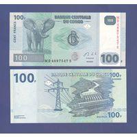 Банкнота Конго 100 франков 2013 UNC ПРЕСС слон, гидроэлектростанция