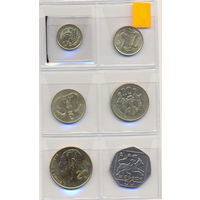 Кипр комплект монет (6 шт.) 1991-2004 гг. скидки.