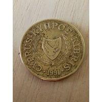 Кипр 5 центов 1991г.