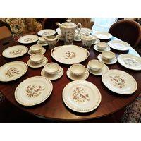 """Большой антикварный кофейно-чайный  сервиз.Декор""""райская птица"""". Лимож Франция 30-50ые годы..38 предметов."""