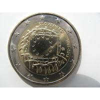 Словакия 2 евро 2015 г. 30 лет флагу Европейского союза. (юбилейная) UNC!