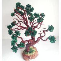 Кедр из бисера, искусственное дерево, авторская работа.