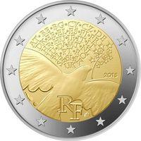 2 евро Франция  2015 г. 70 лет окончанию Второй Мировой войны
