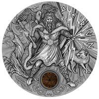 "RARE Ниуэ 2 доллара 2018г. ""Славянские боги: Перун"". Монета в капсуле; деревянном подарочном футляре; сертификат; коробка. СЕРЕБРО 62,27гр.(2 oz)."