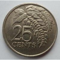 """Тринидад и Тобаго 25 центов 1980 """"Цветущая чакония - национальный цветок"""""""