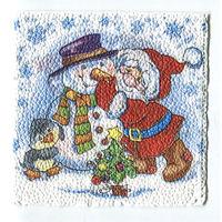 Салфетка для декупажа. Новогодняя, снеговик, дед мороз. 25 х 25 см