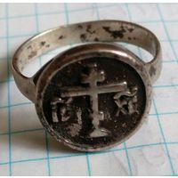 Серебряное кольцо с православным крестом. С 1 рубля! Без МПЦ!