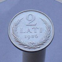 Латвия 2 лата 1926 СЕРЕБРО