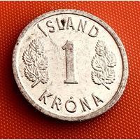 100-25 Исландия, 1 крона 1977 г.