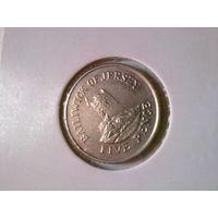 Джерси 5 пенсов 1990 в холдере