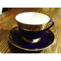 Чашка кобальт с золотом ЛФЗ.чайная пара.