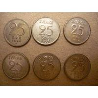 6 монет Швеции(билон)