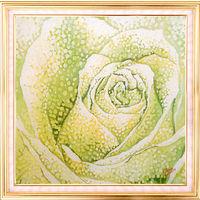 Картина на шелке. Нефритовая роза. Батик.