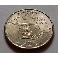 25 центов, квотер США, штат Мичиган, P D