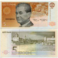 Эстония. 5 крон (образца 1992 года, P71b, UNC) [серия BK]